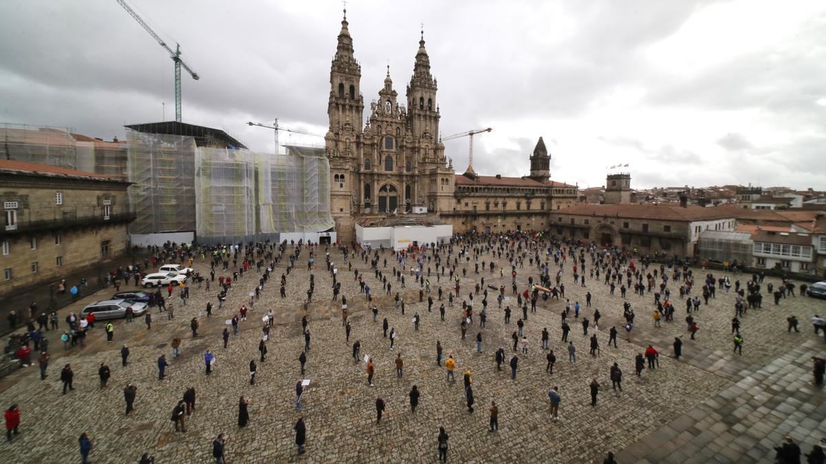 Manifestación de hosteleros en Santiago de Compostela