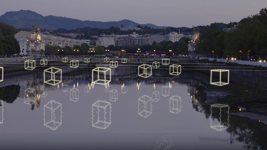 Unos grandes cubos iluminarán el río Urumea a su paso por San Sebastián esta Navidad