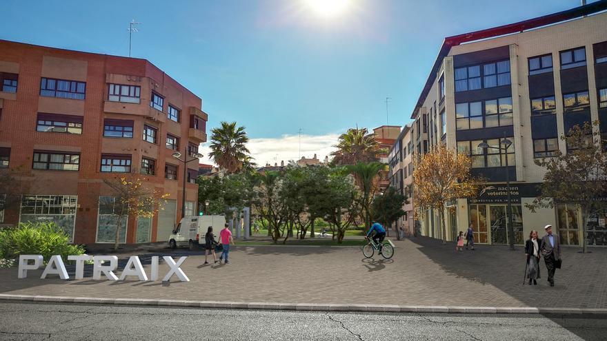 Así quedará uno de los accesos peatonalizados al barrio de Patraix, en Valencia