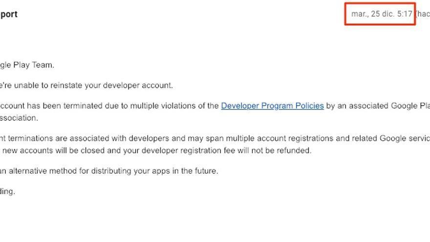 El email que Pablo intercambió con Google