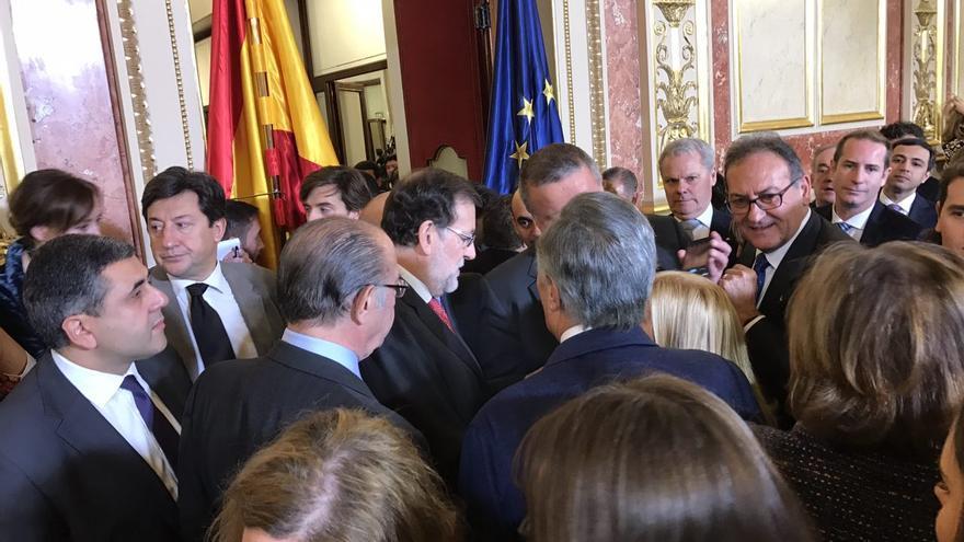 El presidente del Gobierno, Mariano Rajoy, en los actos de la Constitución en el Congreso.