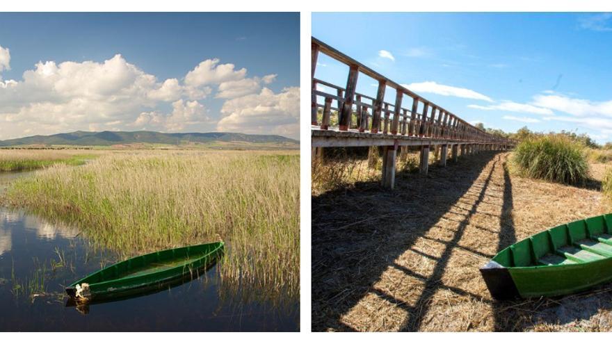 Imagen de las Tablas de Daimiel inundadas y secas.