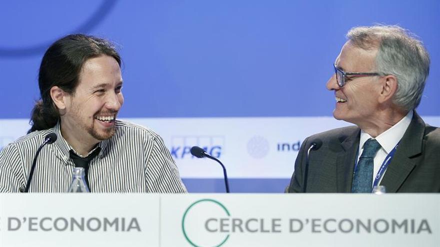 Pablo Iglesias, durante su intervención ante el Cercle d'Economia.