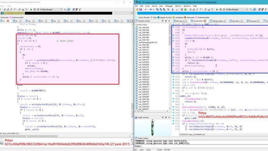 El código de Petya modificado como Wiper a la izquierda y la versión anterior conocida del virus, a la derecha