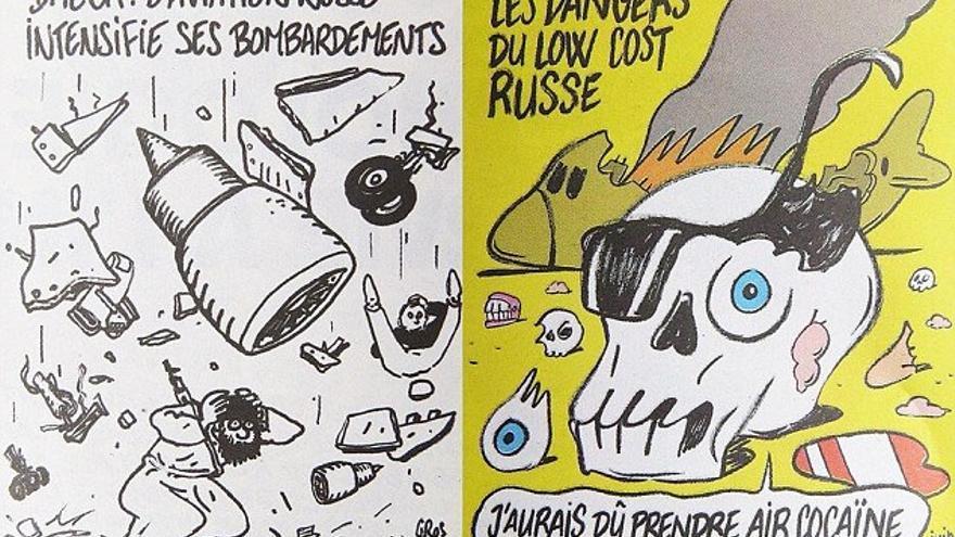 Dos viñetas de la tragedia del avión ruso en Charlie Hebdo.