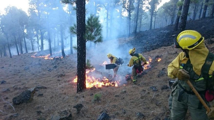 Trabajos de extinción del incendio en La Palma. (EUROPA PRESS)