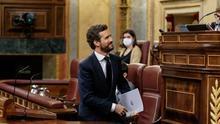 El líder del PP, Pablo Casado, durante el Pleno de este miércoles.