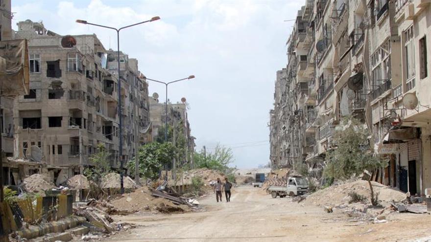 Una zona destruida del enclave de Guta Oriental recuperado por el Ejército sirio.