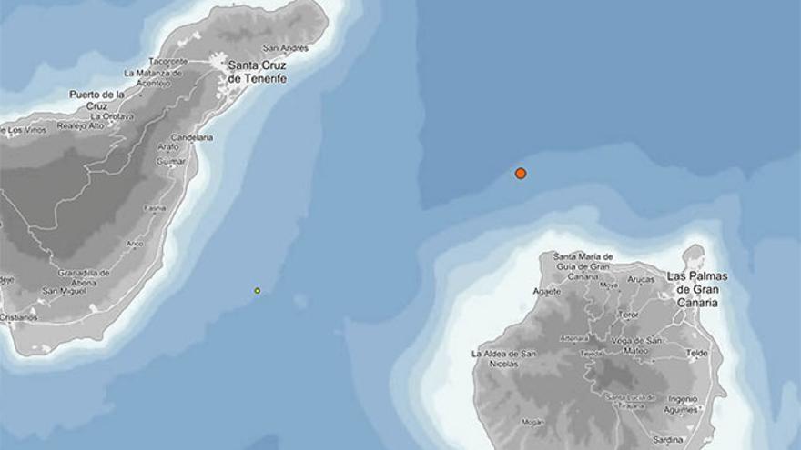 Sismo de 3,1 grados entre Gran Canaria y Tenerife (Instituto Geográfico Nacional)