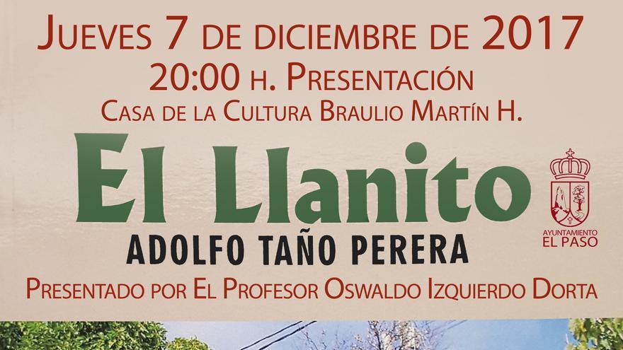 Cartel de la presentación del libro 'El Llanito' de Adolfo Taño 'don Alvaro'.