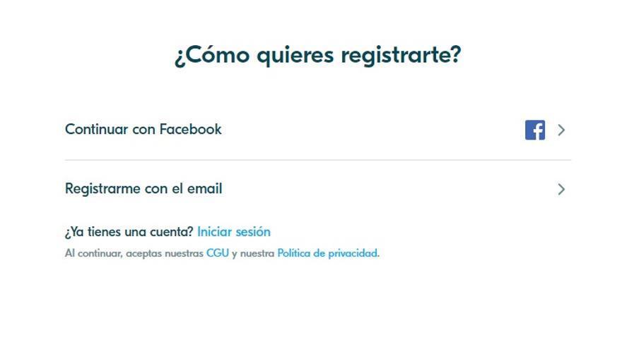 Pantalla de registro en Blablacar. Puede usarse un email o hacer 'social login' a través de Facebook.