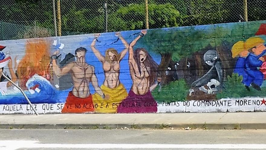Mural sobre memoria histórica en Fene, elaborado por jóvenes