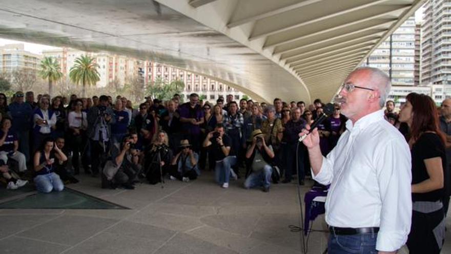 Antonio Montiel, en un acto de la precampaña de Podemos.