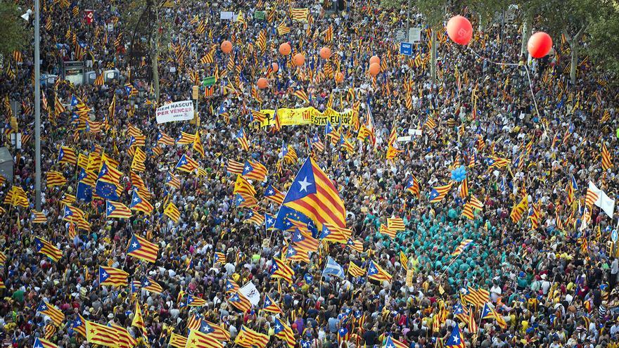 Pancartes i estelades a la manifestació de la Diada. / Edu Bayer