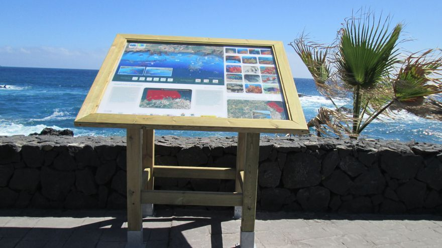 En la imagen, panel instalado en el paseo litoral de Los Cancajos.