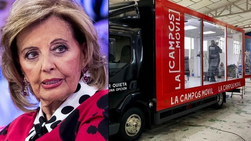 María Teresa Campos / Camión-plató desde el que realizará sus entrevistas