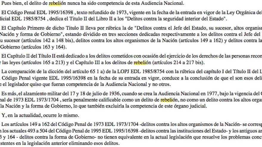 DOCUMENTO: Fragmento del auto del pleno de la Audiencia Nacional de 2008 sobre la investigación del franquismo de Garzón.
