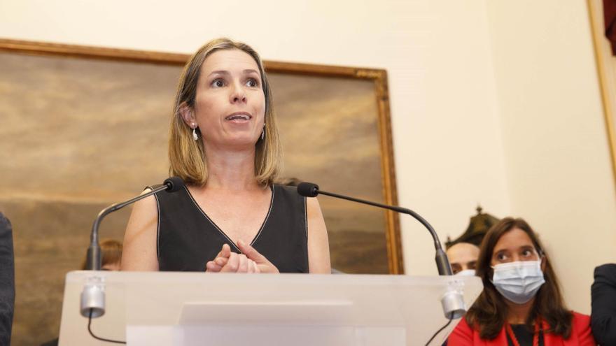 Mónica Martínez, exconcejal de Ciudadanos en el Ayuntamiento de A Coruña, al anunciarse su incorporación al Gobierno municipal de la socialista Inés Rey.