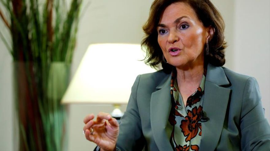 La vicepresidenta del Gobierno Carmen Calvo, positivo por coronavirus