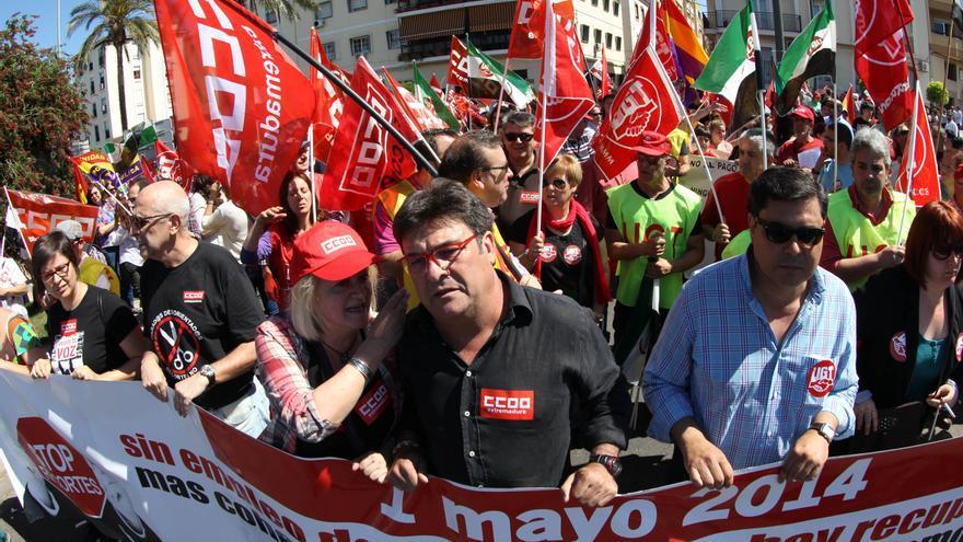 Julián Carretero, en la manifestación del 1º de Mayo en Mérida