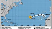 Mapa de la trayectoria del huracán Leslie.