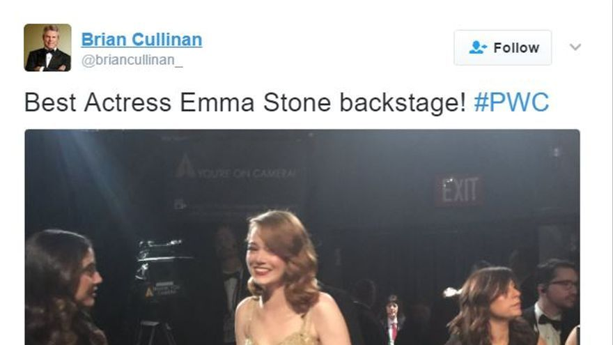 El tuit de Cullinan momentos antes del error