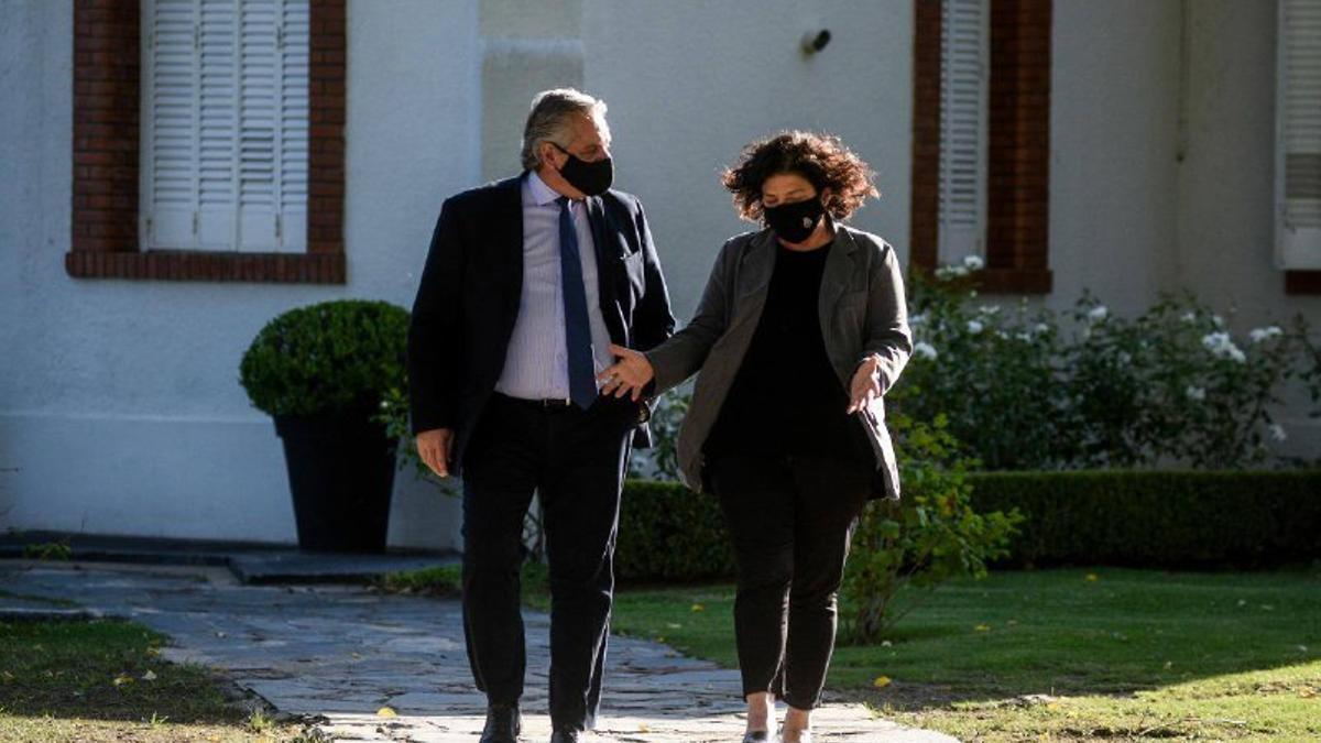 El presidente con la flamante ministra de Salud, Carla Vizzotti