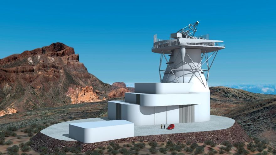 Diseño 3D del futuro Telescopio Solar Europeo (EST). Crédito: Gabriel Pérez, SMM (IAC).