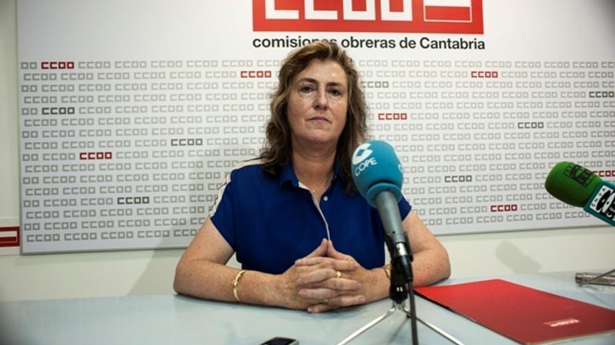 Ruiz Ontiveros, actual secretaría general de Sanidad, en la sala de prensa de CCOO.   Imagen de Archivo