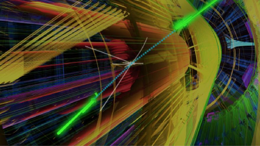 Representación artística de una colisión en uno de les experimentos del LHC (Fuente:  CERN)