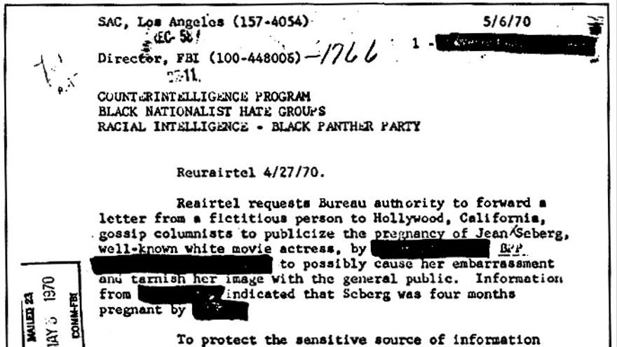 "COINTELPRO document outlining the FBI's plans to 'neutralize' Jean Seberg for her support for the Black Panther Party, by attempting to publicly ""cause her embarrassment"" and ""tarnish her image""."