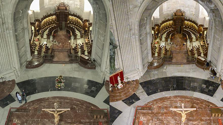 Antes y después de la tumba de Franco tras su exhumación del Valle de los Caídos.