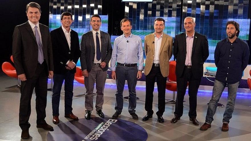 El debate 'a siete' ignora la ausencia de Rodríguez (Podemos) y se centra en la corrupción