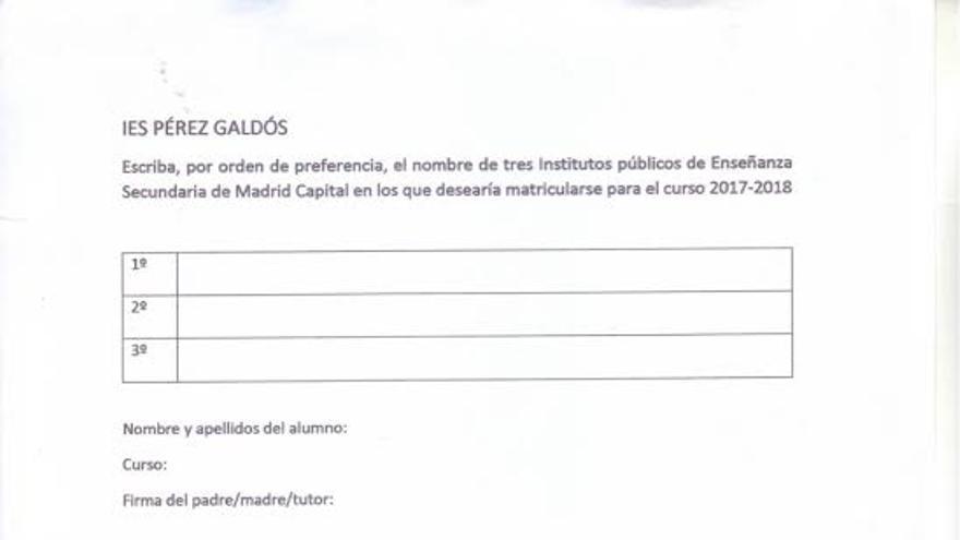 Formulario que pasó el instituto Benito Pérez Galdós a los alumnos y alumnas.