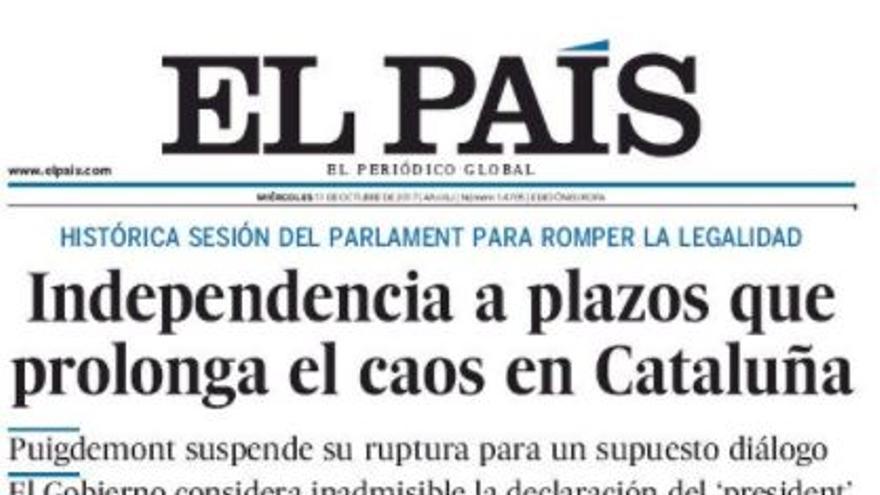 Portada de El País del 11 de octubre