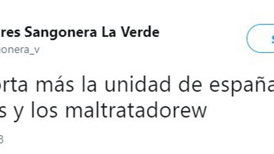"""""""Nos importa más la unidad de España que los violadores y maltratadores"""", el tuit de una cuenta atribuida al PP de Murcia por el que el PSOE pide que se depuren responsabilidades"""