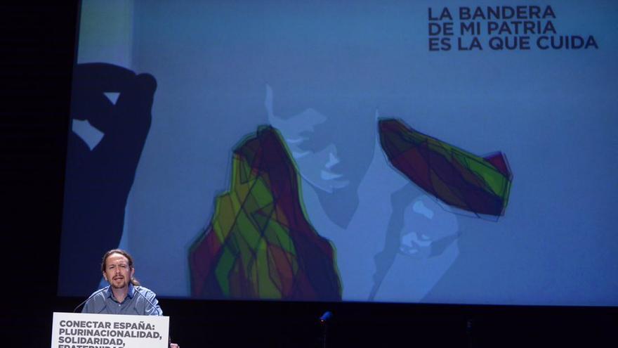 Pablo Iglesias, durante el acto en defensa de la plurinacionalidad.