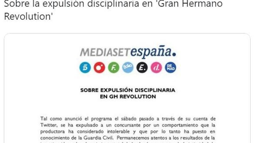 Comunicado de Mediaset.