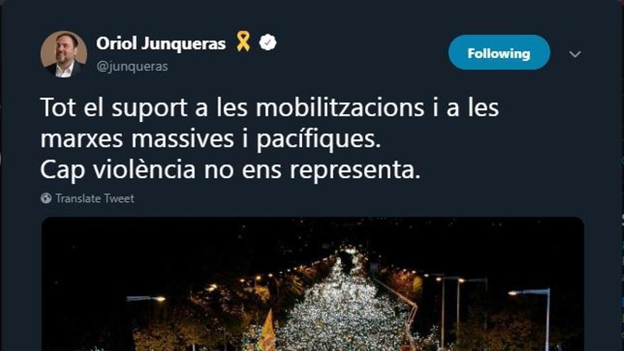 Mensaje compartido por el líder de ERC, Oriol Junqueras