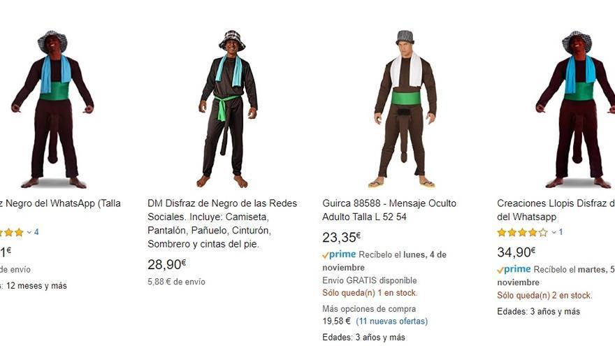 Disfraces del negro de Whatsapp a la venta en Amazon