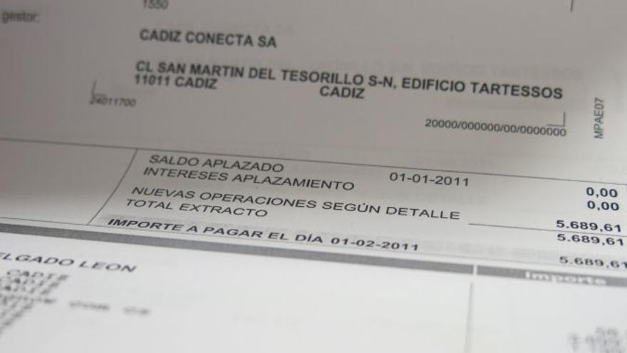 Imagen de una de las facturas cargadas a la tarjeta de Cádiz Conecta (Radio Cádiz).