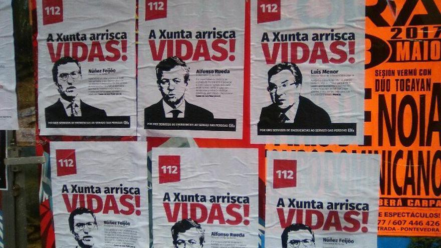 Carteles de las protestas del personal del 112