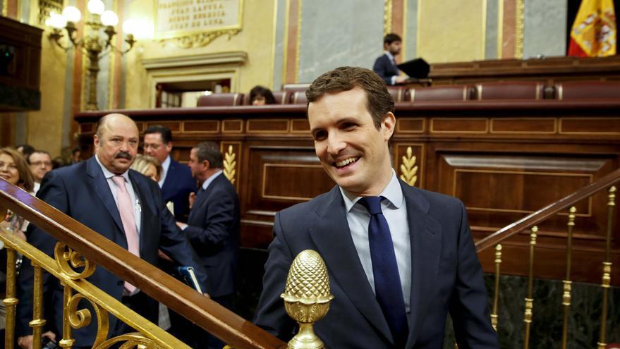 El líder del PP, Pablo Casado, este miércoles, en el Congreso.