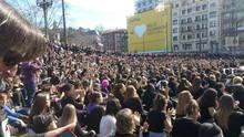 Un momento de la multitudinaria concentración de Bilbao