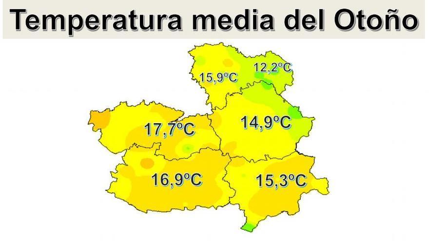 Temperaturas medias en Castilla-La Mancha durante el otoño
