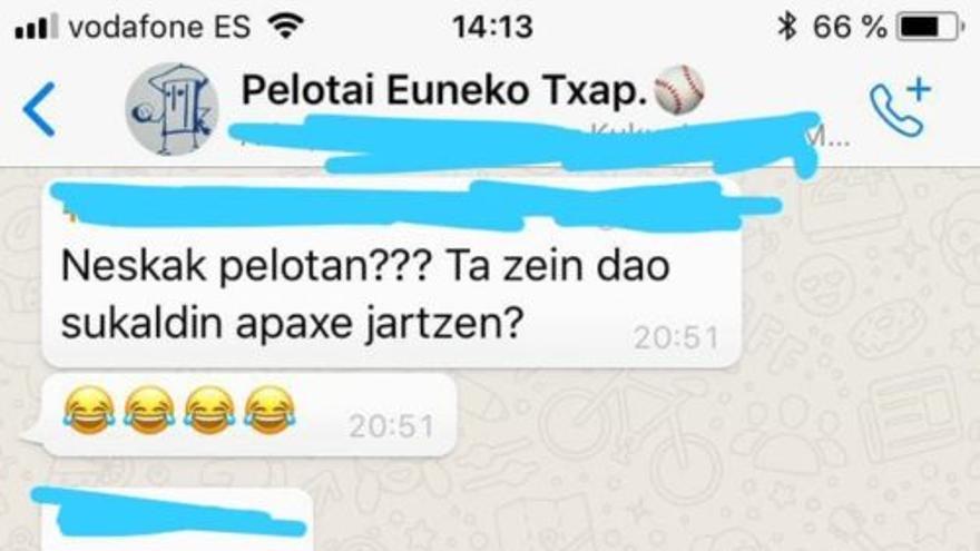 Mensajes machistas del grupo de WhatsApp de pelotaris
