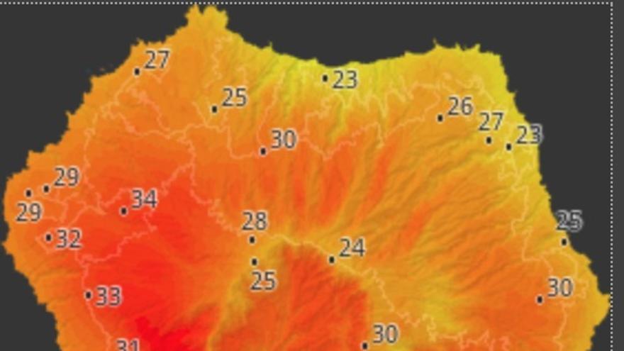Mapa de HD Meteo La Palma donde se indica la temperatura que, a las 14.50 horas de este viernes, 16 de agosto, se registraba en distintos puntos de La Palma.