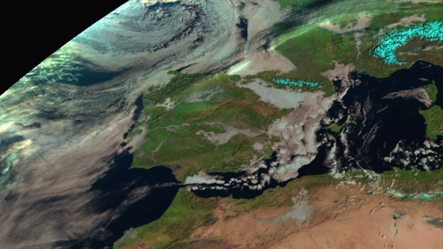 Nubes en la Comunitat Valenciana en una imagen de satélite de la Agencia Estatal de Meteorología