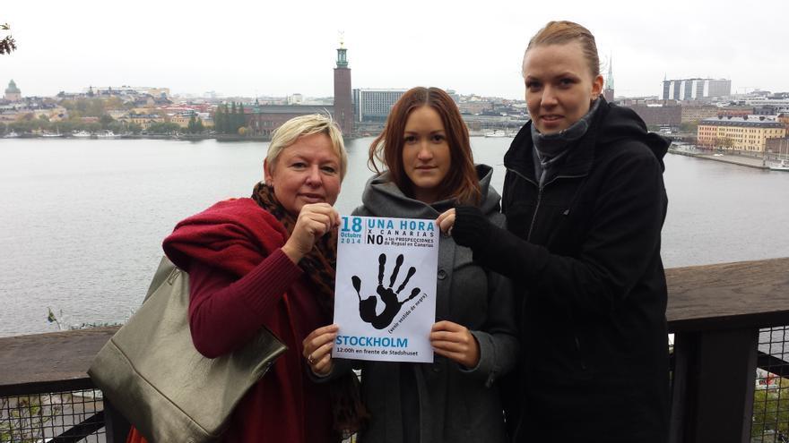Desde Estocolmo (Suecia), protesta contra las prospecciones en Canarias.