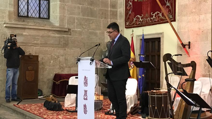 El president de les Corts, Enric Morera, durante el 600 aniversario de la Generalitat